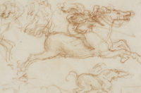 Sketches of horses and soldiers for the Battle of Anghiari